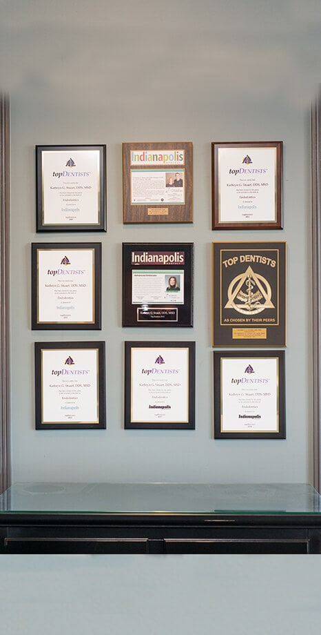Advanced EndoCare awards hanging on the wall